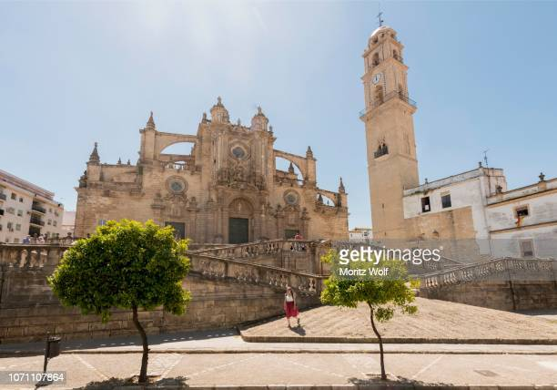 catholic church, jerez cathedral with tower, jerez de la frontera, cadiz province, andalucia, spain - jerez de la frontera fotografías e imágenes de stock