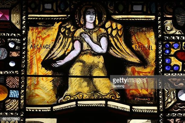 Catholic church of Finhaut in Valais canton Stained glass window By Eugene Dunant Saint Raphael the Archangel Switzerland