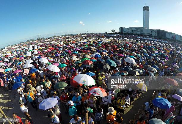 Catholic devotees celebrate mass to culminate the International Eucharistic Congress in Cebu City Central Philippines on January 31 2016 The special...