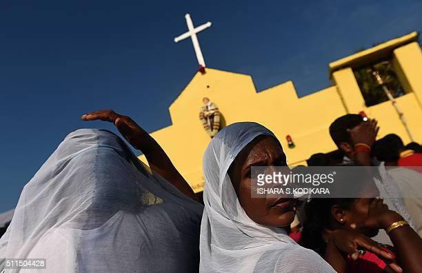 Catholic devotees gather for the annual pilgrimage at Saint Anthony's Church on Katchchativu Island near Jaffna on February 21 2016 Roman Catholic...