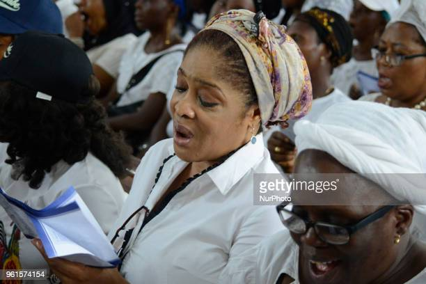 Catholic faithful attend a requiem Mass for the victims of Benue State herdsmen attack at St Leo Catholic Church Ikeja Lagos Nigeria on Tuesday May...
