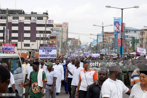 Catholic faithful stage a peaceful protest to condemn the rampant killing in Benue State North Central of Nigeria at St Leo Catholic Church Ikeja...