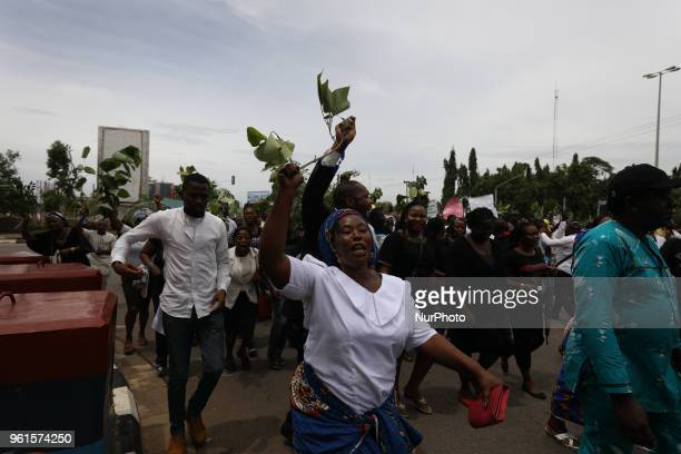 Catholic faithful stage a peaceful protest to condemn the rampant killing in Benue State North Central of Nigeria in Abuja Nigeria's capital on May...