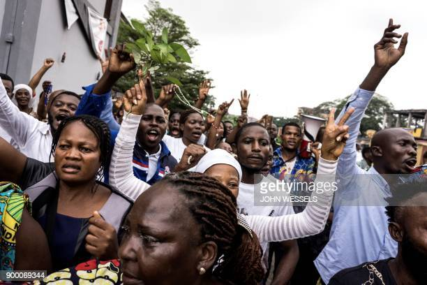 Catholic faithfuls take part in a demonstration to call for the President of the Democratic Republic of the Congo to step down on December 31 2017 in...