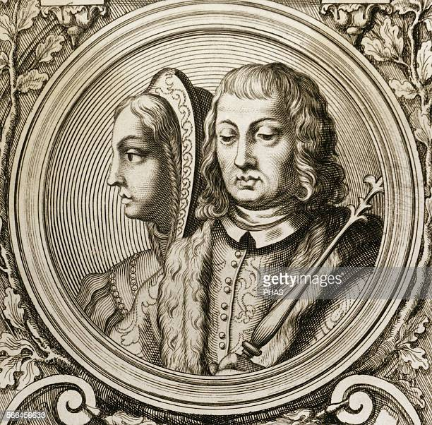 Catholic Kings Isabella I and Ferdinand II Engraving