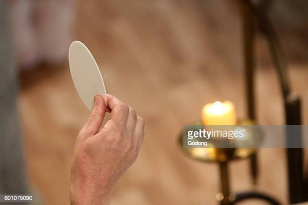 Catholic mass Eucharist of our Lord Jesus Christ La RochesurForon France