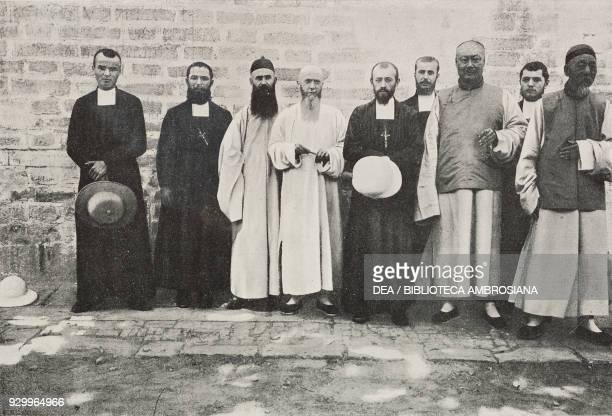 Catholic missionaries from the Church of Nantan in Beijing China photograph by R Alt from L'Illustrazione Italiana Year XXVII No 23 June 10 1900