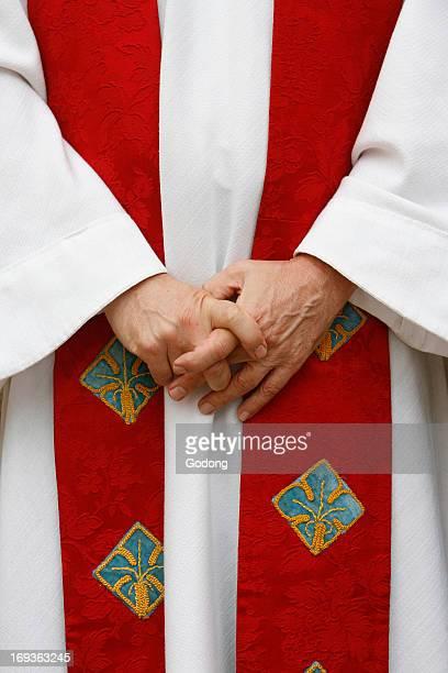Catholic priest dressed for mass