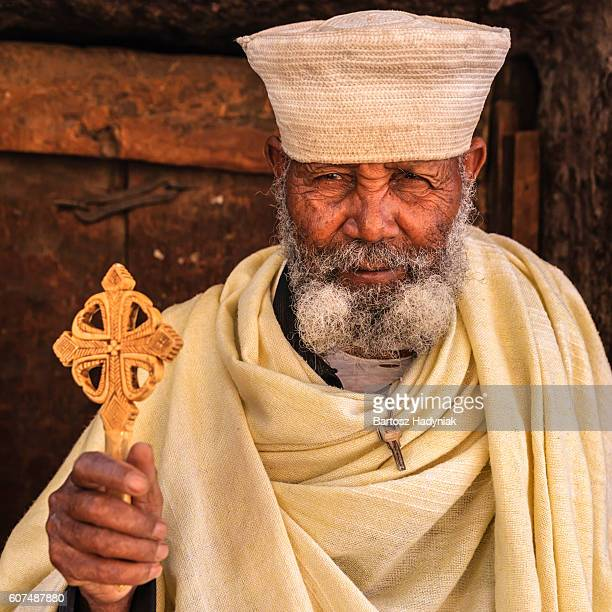 Catholic priest of rock-hewn churches of Lalibela. Ethiopia,East Africa