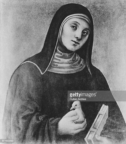 Catholic saint Scholastica circa 500 AD Born into the Italian nobility she later became a nun She is holding a dove an allusion to a vision...