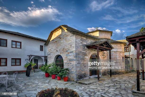 catholic (temple) sanctuary of st. john the baptist's holy monastery   at syki - dimitrios tilis stock pictures, royalty-free photos & images
