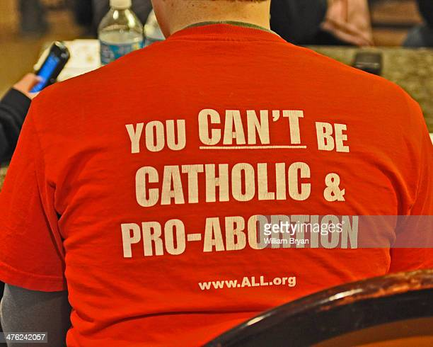 Catholic student professes his support for the prolife movement at the Basilica of the National Shrine of the Immaculate Conception in Washington DC