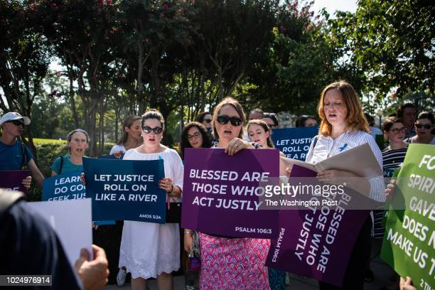 Catholic teachers protest outside of Basilica of the National Shrine of the Immaculate Conception on Tuesday August 28 in Washington DC The teachers...