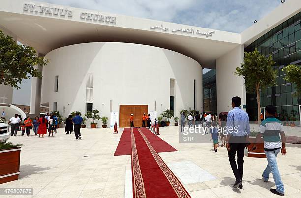 Catholic worshipers from different nationalities residing in the United Arab Emirates arrive for mass at the second church opened in the UAE the St...