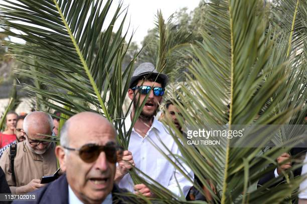 Catholic worshippers take part in the traditional Palm Sunday procession from the Mount of Olives to Jerusalem's Old City on April 14 2019 The...
