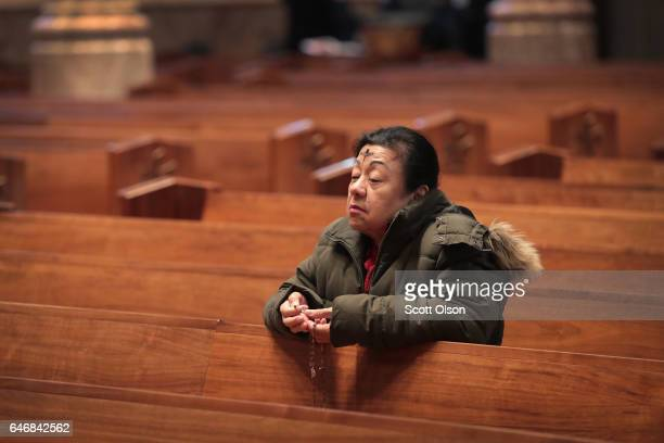 Catholics celebrate Ash Wednesday during a mass at Holy Name Cathedral on March 1, 2017 in Chicago, Illinois. Ash Wednesday, which occurs 46 days...