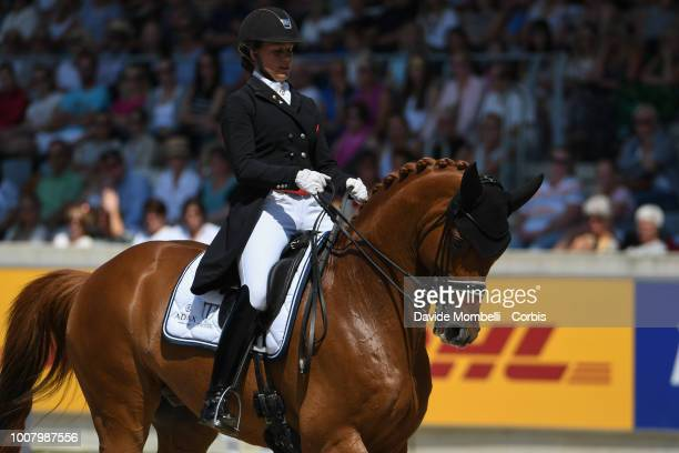 Cathrine Dufour of Denmark riding Atterupgaards Cassidy during the dressage individual Final Grand Prix of Aachen Freestyle to music CDIO Deutsche...