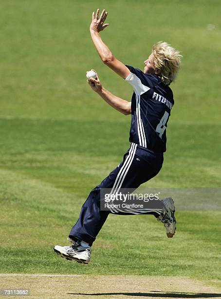 Cathryn Fitzpatrick of the Spirit in action during the WNCL Final match between the NSW Breakers and the Victoria Spirit at Central Oval Glen Waverly...