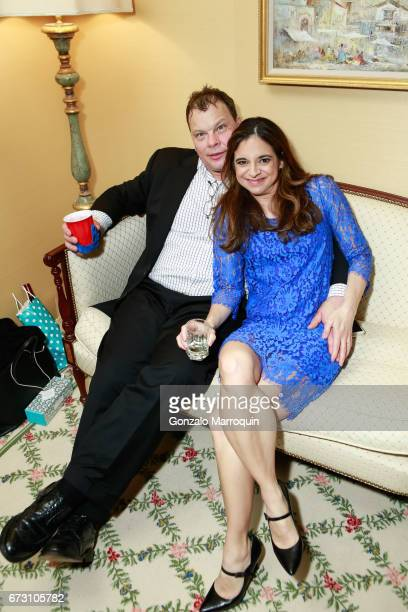 Cathy Areu and her husband attend the Paul Dee Dee Sorvino celebrate their new book Pinot Pasta Parties at 200 East 57th Street on April 25 2017 in...
