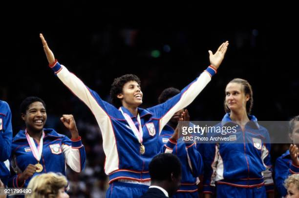 Cathy Boswell Cheryl Miller Cindy Noble US team Women's basketball medal ceremony The Forum at the 1984 Summer Olympics August 7 1984
