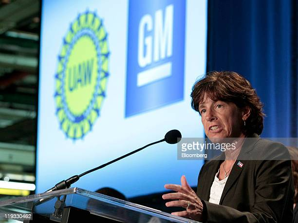 Cathy Clegg, vice president of labor relations for General Motors Co. , speaks during an event at GM's assembly plant in Flint, Michigan, U.S., on...