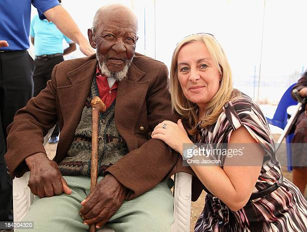 Cathy Ferrier of Sentebale poses with 101 year old Libenyane Ntlama has hearing aids fitted by the Starkey Foundation at Lesotho Cooperative College...