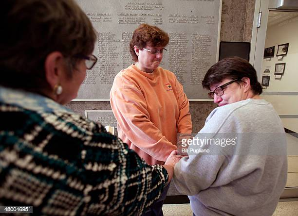 Cathy Fisher and Laurie Fisher get married at the Oakland County Courthouse on March 22 2014 in Pontiac Michigan A Federal judge overturned...
