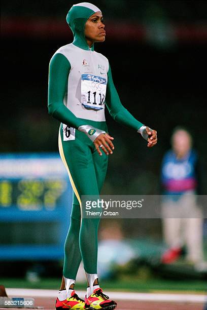 Cathy Freeman from Australia celebrates after winning the women's 400meters of the 2000 Olympics