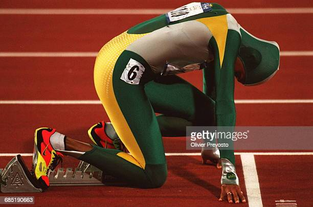 Cathy Freeman from Australia in the starting blocks prepares to run in the Women's 400 final at the 2000 Summer Olympics Freeman won the Gold medal...