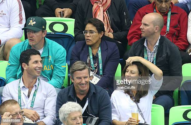 Cathy Freeman of Australia and her husband James Murch attend the swimming finals on day 5 of the Rio 2016 Olympic Games at Olympic Aquatics Stadium...
