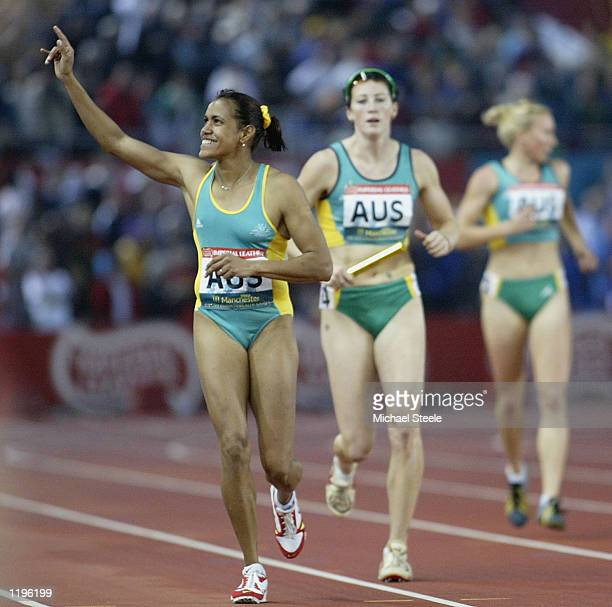 Cathy Freeman of Australia celebrates winning the Women's 4 x 100 metres relay Final at the City of Manchester Stadium during the 2002 Commonwealth...