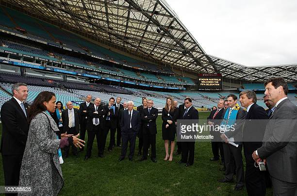 Cathy Freeman speaks to FIFA delegates and FFA officials during the FIFA Australian Inspection Tour at Stadium Australia on July 26 2010 in Sydney...