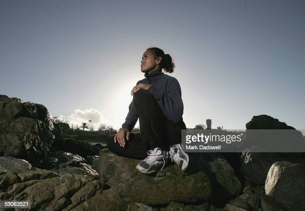 Cathy Freeman takes in the scenery at Lamberts Beach Lookout during the Athletics For the Outback Program run by Athletics Australia in Mackay on...