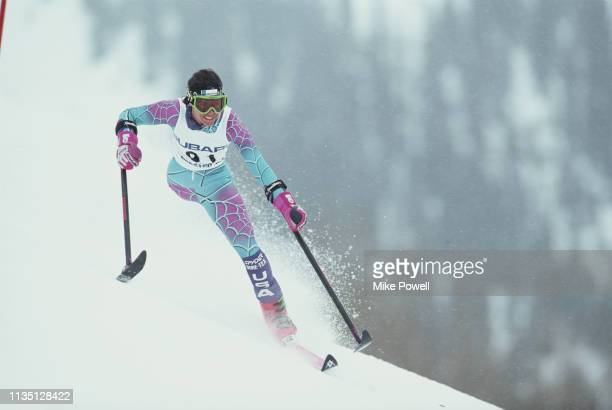 Cathy Gentile of the United States skiing in the disabled LW2 Women's Downhill event of the United States Alpine Skiing Championships on 6 February...