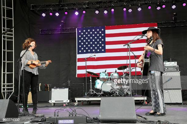 Cathy Guthrie and Amy Nelson of Folk Uke perform in concert at Willie Nelson's 45th 4th Of July Picnic at the Austin360 Amphitheater on July 4 2018...