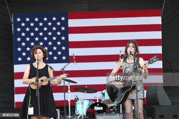Cathy Guthrie and Amy Nelson of Folk Uke perform in concert during the annual Willie Nelson 4th of July Picnic at the Austin360 Amphitheater on July...