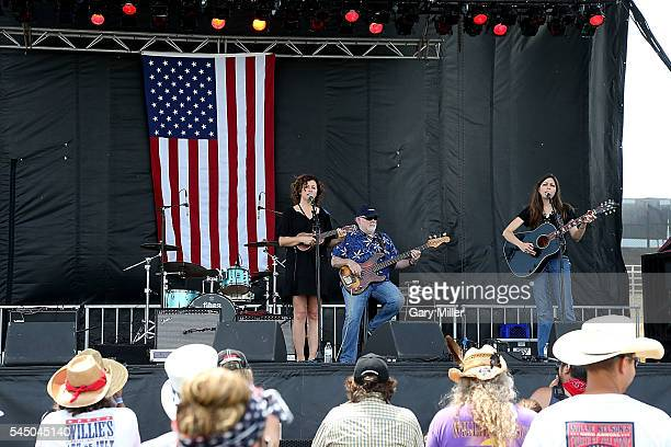 Cathy Guthrie Dallas Wayne and Amy Nelson perform in concert with Folk Uke during the 43rd Annual Willie Nelson 4th of July Picnic at the Austin360...