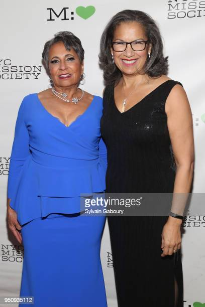 Cathy Hughes and Elsie McCabe Thompson attend NYC Mission Society's 2018 Champions for Children gala on April 24 2018 in New York City