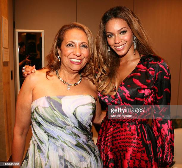 Cathy Hughes Chairman of Radio One with Beyonce during Radio One's 25th Anniversary Awards Dinner Gala at JW Marriot in Washington DC United States