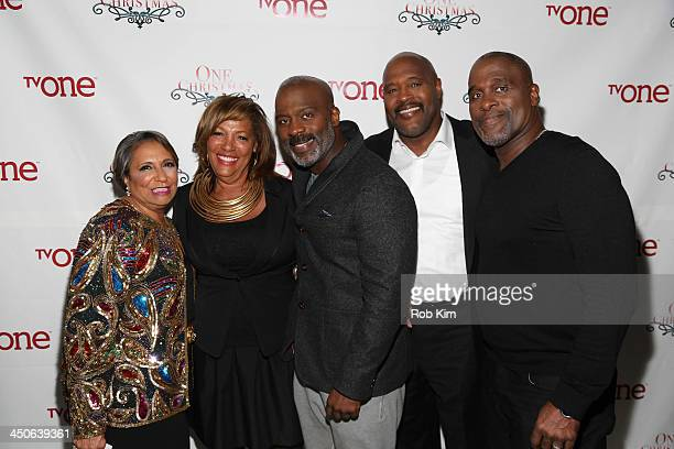 Cathy Hughes guest BeBe Winans Marvin Winans and Carvin Winans attend TV One's One Christmas Holiday Variety Special on November 19 2013 in...