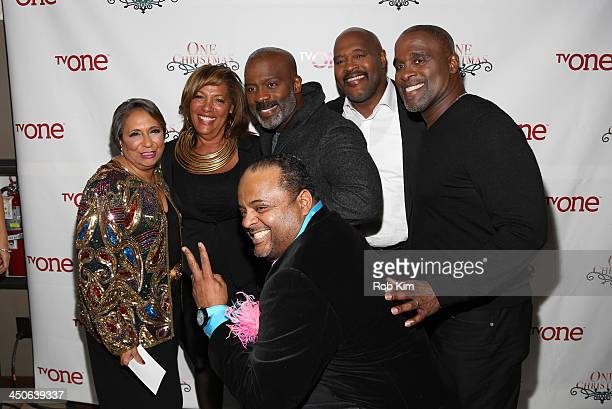 Cathy Hughes guest Roland Martin BeBe Winans Marvin Winans and Carvin Winans attend TV One's One Christmas Holiday Variety Special on November 19...
