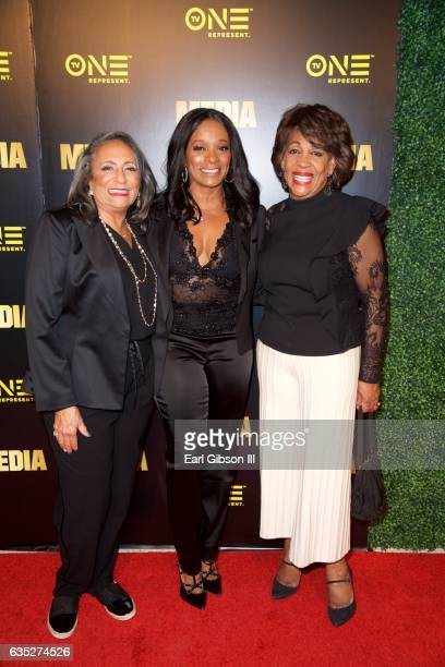 Cathy Hughes Vanessa Bell Calloway and Maxine Waters attend the Premiere Of TV One's Media at Pacific Design Center on February 13 2017 in West...