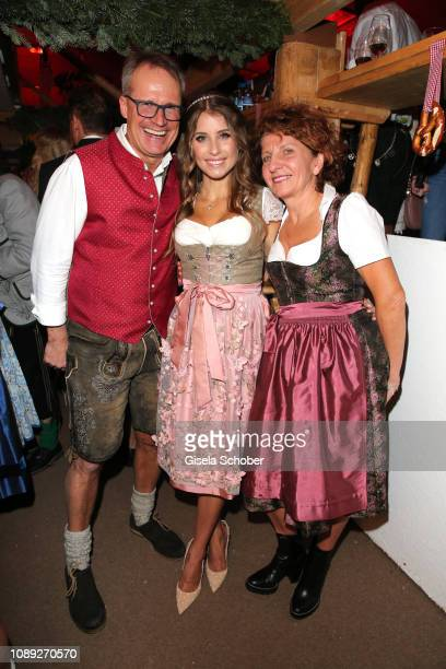 Cathy Hummels and her parents Alfred and Marion Fischer during the 28th Weisswurstparty at Hotel Stanglwirt on January 25, 2019 in Going near...