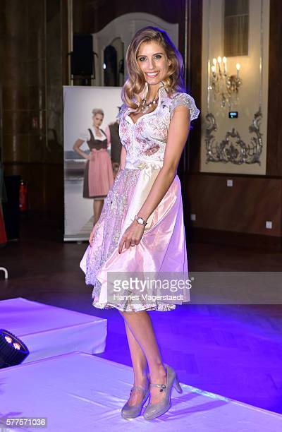 Cathy Hummels during the Angermaier Trachten presentation of the Octoberfest Dirndl collection at Deutsches Theater on July 19 2016 in Munich Germany