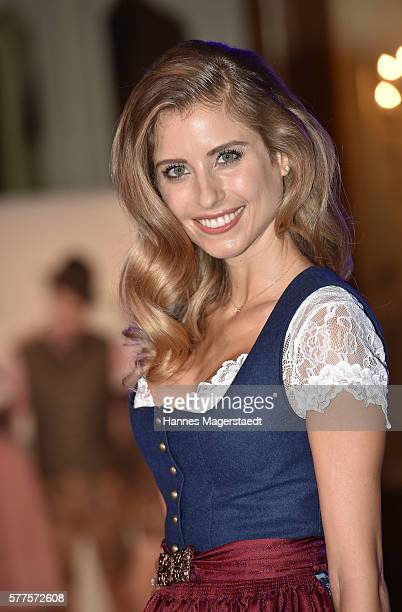 Cathy Hummels during the Angermaier Trachten presentation of the Octoberfest Dirndl collection at Deutsches Theater on July 19, 2016 in Munich,...