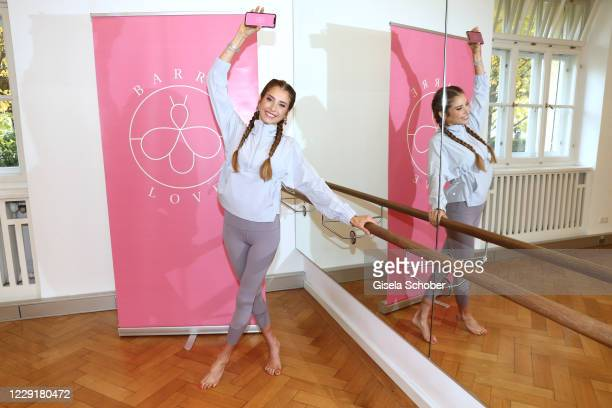 "Cathy Hummels launches her new sport app ""barrelove"" at Studio 12 on October 20, 2020 in Munich, Germany."