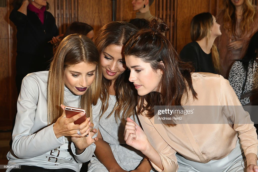 Cathy Hummels, Namika and Marie Nasemann attend the Marina Hoermanseder show as part of Der Berliner Mode Salon during the Mercedes-Benz Fashion Week Berlin Autumn/Winter 2016 at Kronprinzenpalais on January 21, 2016 in Berlin, Germany.