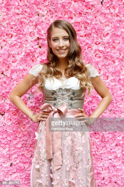 Cathy Hummels poses at the Cathy Hummels by Angermaier collection presentation at Titanic Hotel on July 5 2018 in Berlin Germany