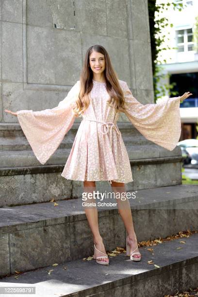 Cathy Hummels poses during a photo shooting at Hotel Bayerischer Hof on July 8, 2020 in Munich, Germany. The German model and influencer Cathy...