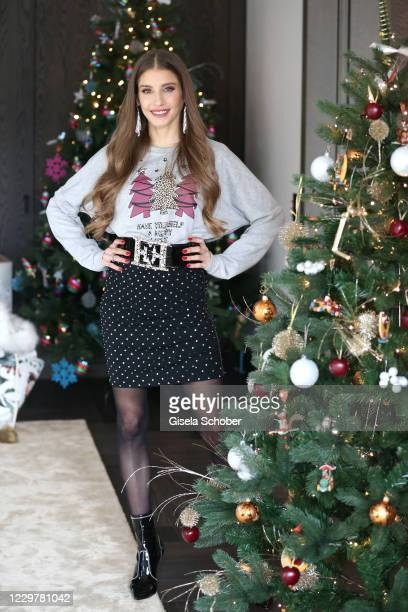 "Cathy Hummels poses in her home during her Christmas charity day ""X-Mas by CH"" on November 25, 2020 in Munich, Germany."